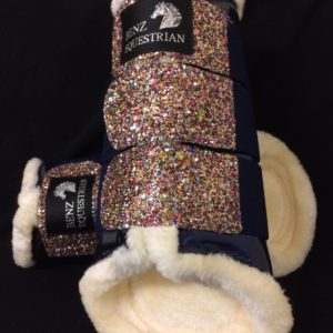 Navy Patent Multi Glitter Brushing Boots